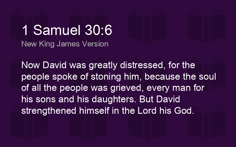 1 Samuel 30:6 NKJV - Now David was greatly distressed, for t