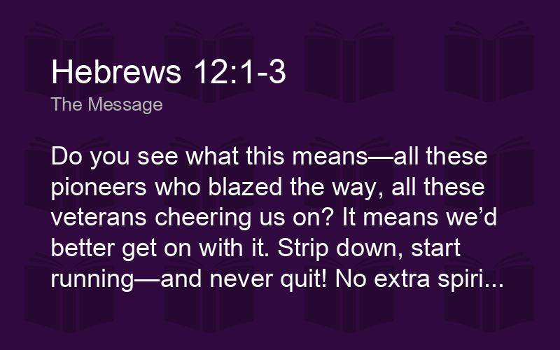 Hebrews 12:1-3 MSG - Do you see what this means—all these