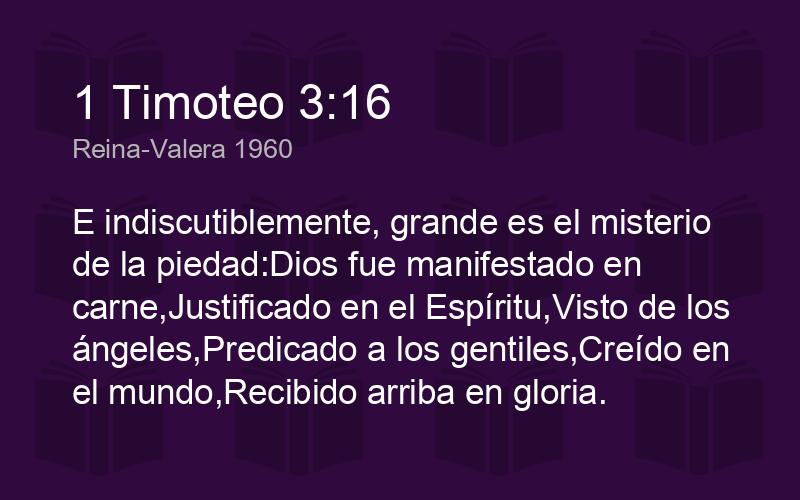 1 Timoteo 3 16 Rvr1960 E Indiscutiblemente Grande Es El M